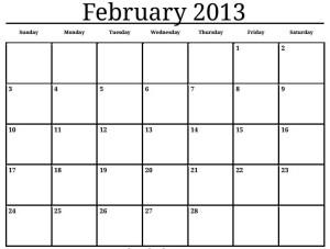 februarie 2013,calendar februarie 2013,luna februarie 2013